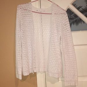 Cotton crocheted sweater in white